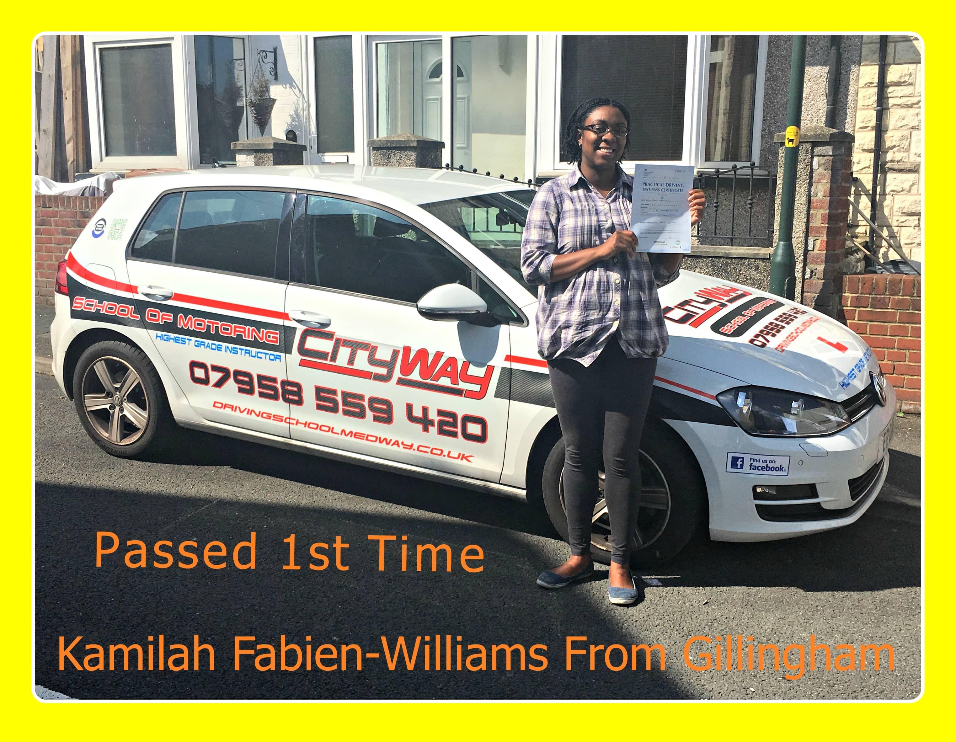 driving lessons gillingham | Kamilah Fabien-Williams